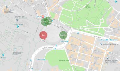 Mapa de accesos al Coliseo de Roma